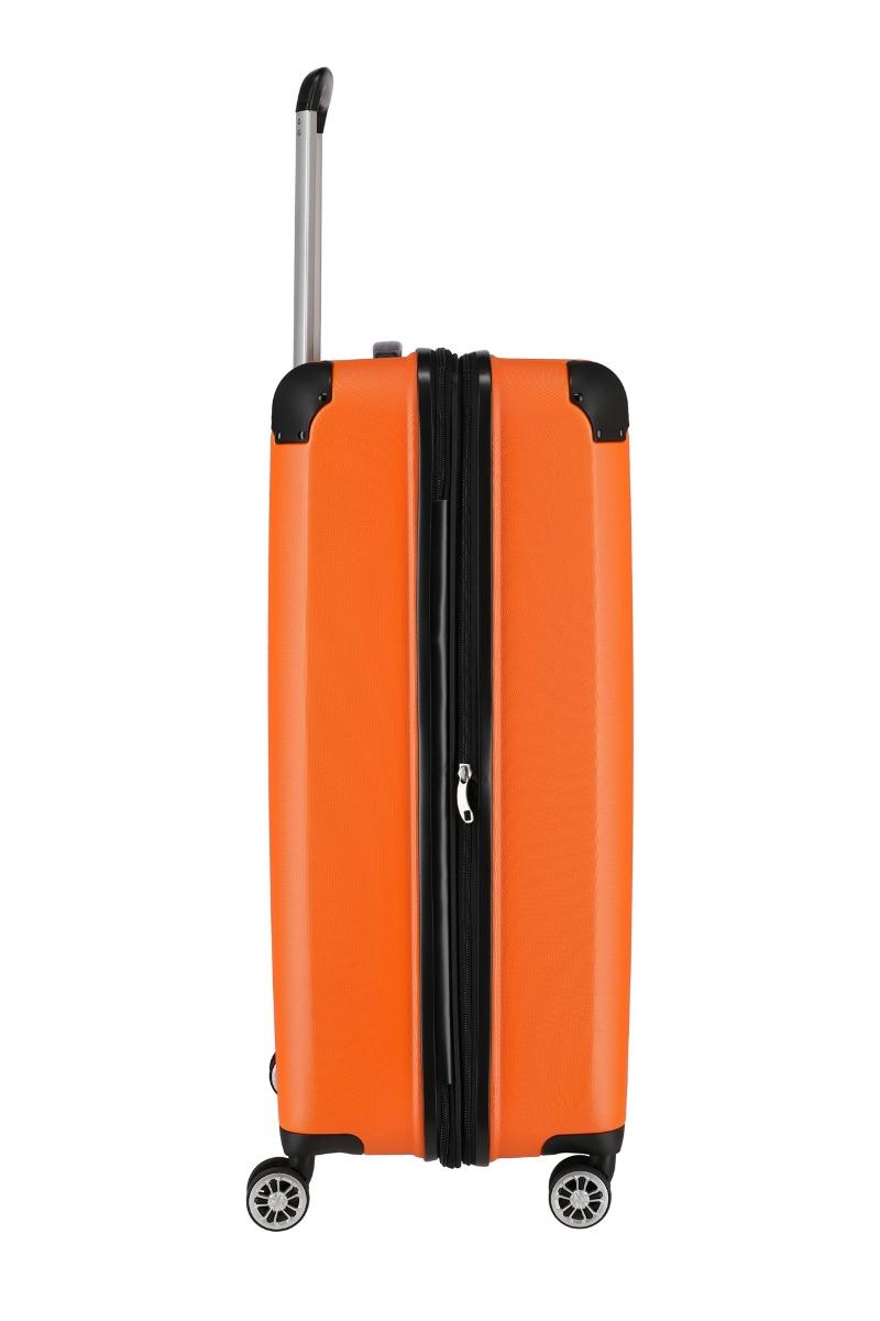 Travelite City L Orange Hľadáte kvalitnú batožinu, ktorá vám ponúkne viac než len zázemie a praktickú výbavu na cesty?  štyri veľké dvojkolieska otočné o 360° odľahčená výsuvná rukoväť s aretáciou integrovaný TSA zámok expandér pre okamžité navýšenie objemu obojstranný baliaci systém s deliacou priečkou kompresné popruhy v tvare písmena X vnútorná podšívka spevnené hrany komfortná rúčka