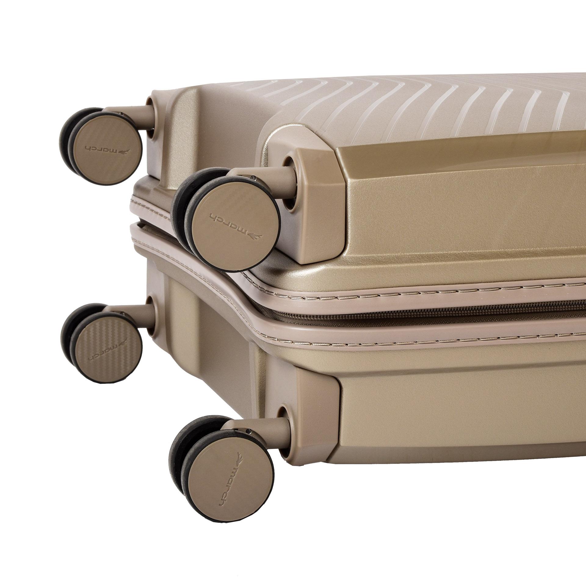 March Gotthard S Silver bronze.  - batožina S je väčšinou dopravcov akceptovaná ako palubná - odľahčený pojazdný systém štyroch dvojkoliesok otočných o 360° - hliníková výsuvná rukoväť s aretačným tlačidlom - TSA zámok umožňujúci bezpečné uzamknutie kufra - dvojstranne riešený interiér s vreckom na zips - piesková povrchová úprava znižujúca riziko oderu a poškrabania - päťročná záruka