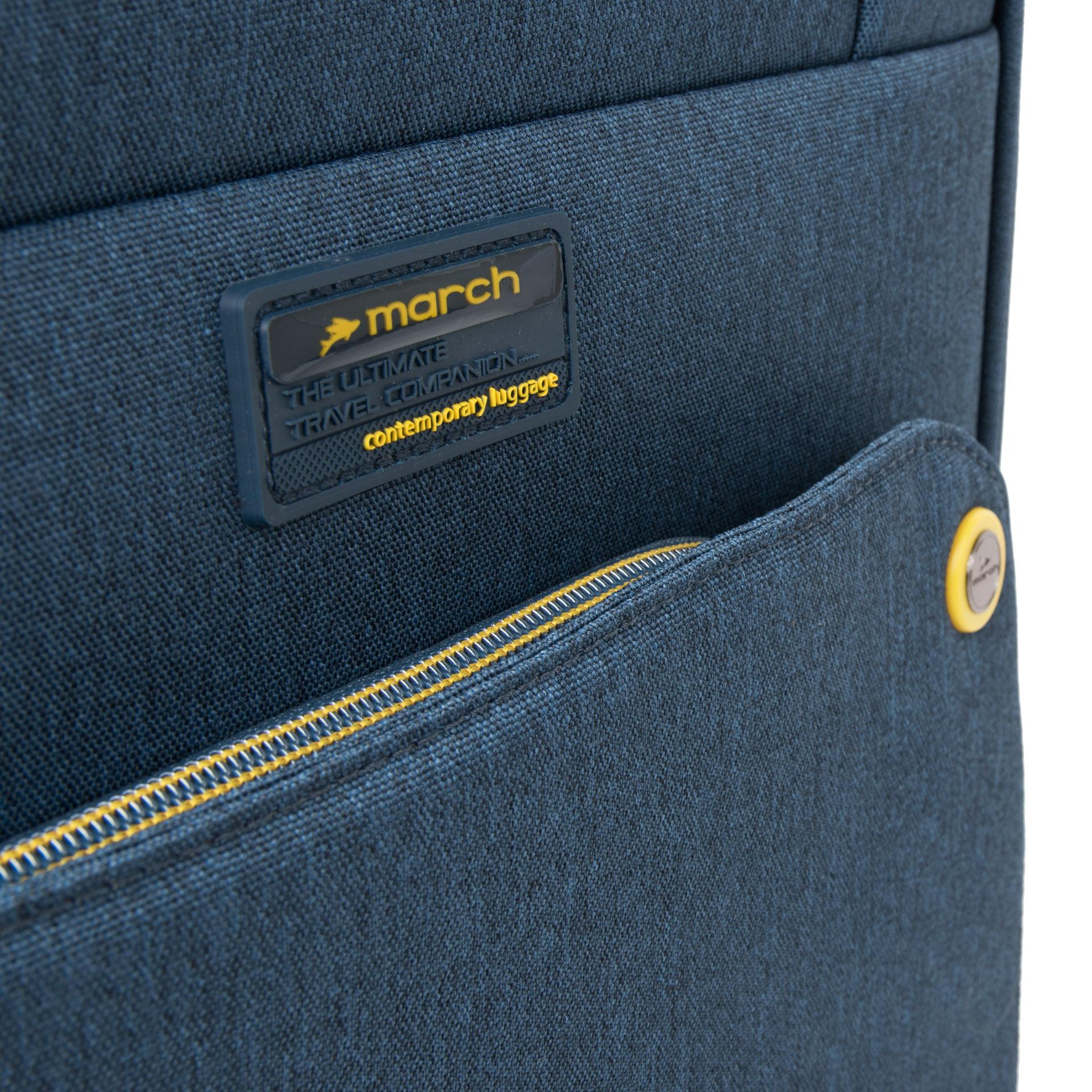 March Shorttrack S Navy/yellow Pekný palubný kufor March Shorttrack je vhodný pre příložitostné cestovanie.  - batožina je väčšinou leteckých spoločností akceptovaná ako palubných - štyri odľahčené dvojkolieska - kvalitná hliníková rukoväť s tlačidlom pre uzamknutie na madle - integrovaný TSA kombinačný zámok - luxusný interiér kufru s obojstranným baliacim systémom - päťročná záruka