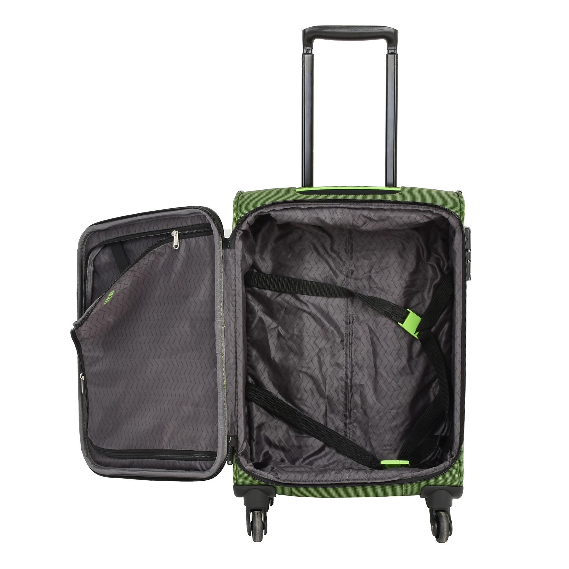 Travelite Derby 4w S Green Kvalitný, moderne spracovaný a extra ľahký kufor Travelite Derby z odolného materiálu poslúži všetkým dobrodruhom, ktorí často a radi cestujú do vzdialenejších destinácií a nenechajú si ujsť ani víkendové pobyty.  - kvalitné komfortné kolieska otočné o 360° - odľahčená kovová rukoväť s aretáciou a plastovým úchytom - integrovaný TSA zámok - expandér pre jednoduché navýšenie objemu u veľkostí - samostatná vnútorná priehradka na košele - kompresné popruhy uľahčujúce balenie - dve veľké predné vrecká na zips - dve madlá pre lepšiu manipuláciu - spevnené hrany - moderný dizajn a svieže farby - popruh pre nasunutie na madlo u kufra - kufor spĺňa rozmery pre palubnú batožinu väčšiny leteckých spoločností