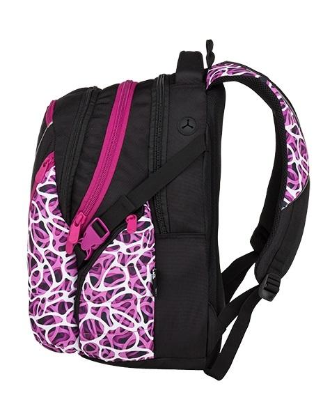 Bagmaster Bag 9 C Purple/white/black Moderný študentský batoh Bag 9 s reflexnými prvkami si hravo poradí s každodennými školskými povinnosťami.  - anatomicky tvarovaný chrbát s mäkkým čalúnením - mäkko čalúnené a anatomicky tvarované ramenné popruhy s možnosťou nastavenia dĺžky - hlavná a prostredná komora pojme učebnice, zakladače aj školské dosky formátu A4 - vrecko na gumu v hlavnej komore pre jednoduchú organizáciu zošitov a zložiek - kapsička s rozmermi 8,5 x 10 x 2 cm na mp3 prehrávač/powerbanku s vývodom na slúchadlá/USB kábel - čalúnené vrecko na 15'' notebook s fixačným popruhom na suchý zips umiestnený v prostrednej komore - organizér so sieťovanou kapsičkou na mobil na zips - odnímateľná klipsňa na kľúče s karabínou - dve bočné vrecká na zips s vnútornou sieťkou vhodné na fľašu - bočné kompresné popruhy možno využiť k stiahnutiu objemu aj k lepšej fixácii vyššej fľaše - malé predné vrecko vhodné na okuliare - dve predné vrecká na zips na drobnosti - vystužené a prešité dno - čalúnené ucho - pútko pre zavesenie - pútko na blikačku - reflexné prvky pre lepšiu viditeľnosť za šera - použité materiály vrátane reflexných spĺňajú normy EÚ z hľadiska nezávadnosti - látka s potlačou na prednej časti batohu je strihanie z kotúča, každý batoh je originál a rozloženie farebných prúžkov sa môže líšiť od fotografie - predĺžená záruka 3 roky