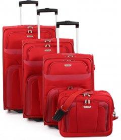 Travelite Orlando S,M,L – súprava 3 kufrov + Boarding Bag Red