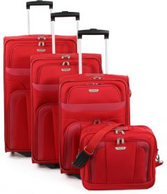 Travelite Orlando S,M,L – súprava 3 kufrov + Boarding Bag Red