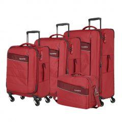 Travelite Kite 4w S,M,L Red – súprava 3 kufrov + BB