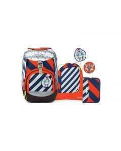 Ergobag Školský set 2 Pruhovaný oranžový modrý