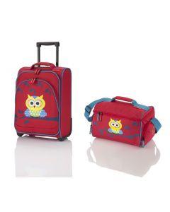 Travelite Youngster – detská súprava kufra a cestovnej tašky Owl