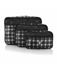 Heys Exotic Packing Cube Set Black/white plaid – súprava 3 ks