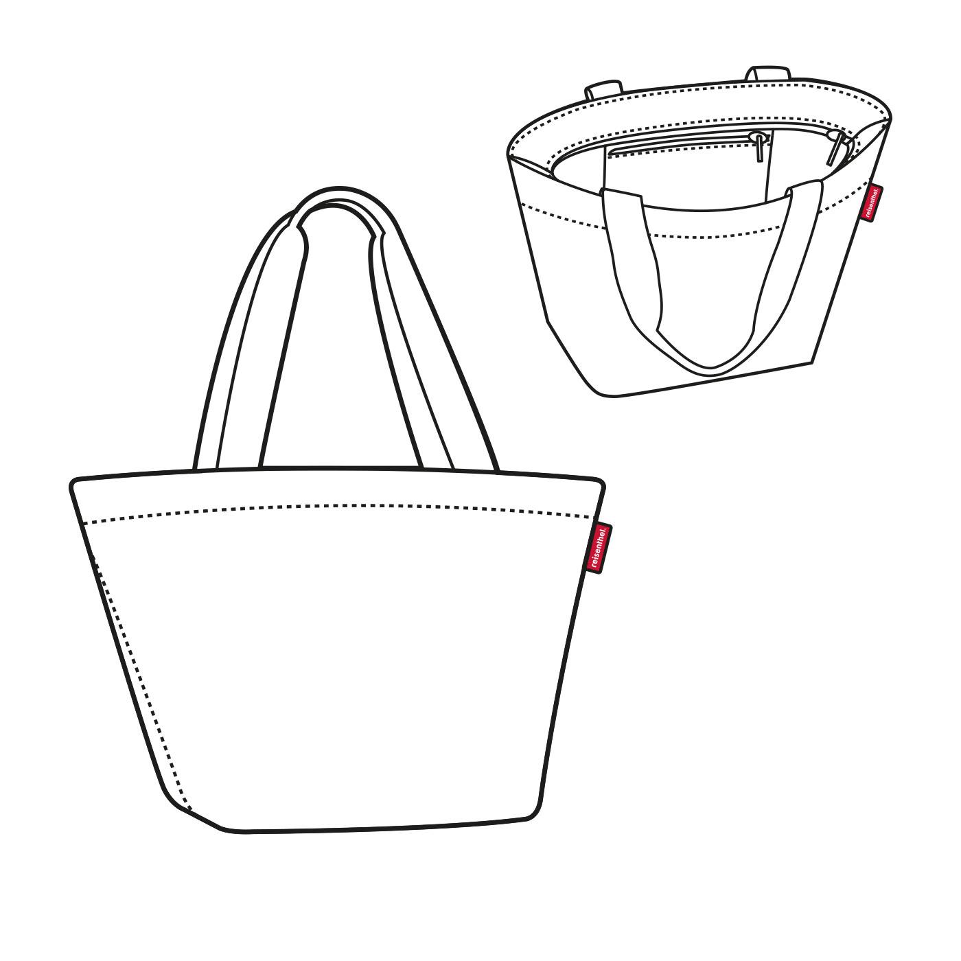 Reisenthel Shopper M Spots Navy - možnost uzavření na zip - uvnitř kapsa na zip - obdélníkové dno zaručující stabilitu při stání - vyrobeno z prvotřídního polyesteru