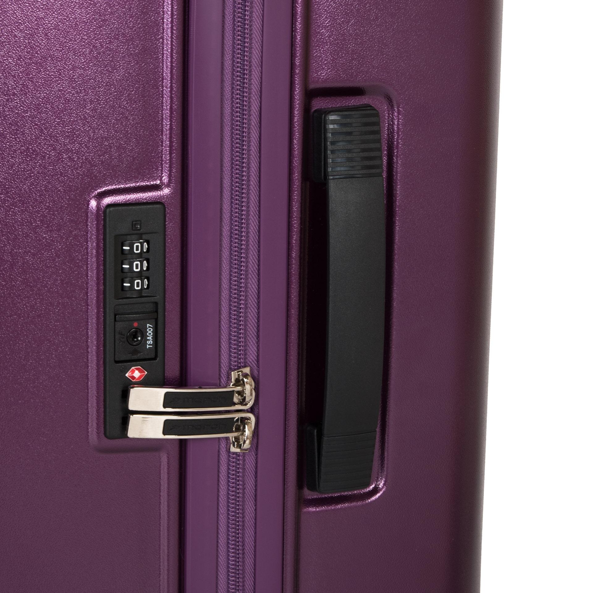 March Beau Monde L Purple metallic.  - štyri tiché odľahčené dvojkolieska rotujúce o 360° - výsuvná hliníková rukoväť s aretáciou - zabudovaný TSA kombinačný zámok - luxusný interiér s dvojstranným baliacim priestorom - matný povrch eliminujúci prípadný oder a poškriabanie - päťročná záruka