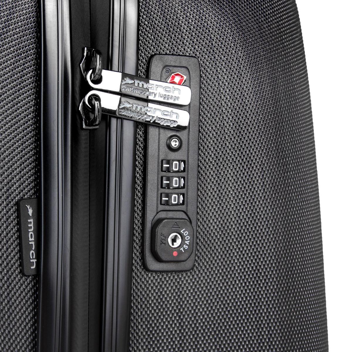March New Carat SE L Black brushed Cestovanie je hračka, keď zvolíte tých správnych pomocníkov.    odľahčený pojazdný systém štyroch dvoukoleček otočných v 360 °    hliníková výsuvná rukoväť s aretačným tlačidlom    vodeodolné zipsy    TSA zámok umožňujúce bezpečné uzamknutie kufra    dvojstranne riešený interiér s vreckom na zips    diamantová povrchová úprava znižujúci riziko oderu a poškriabaniu    päťročná záruka