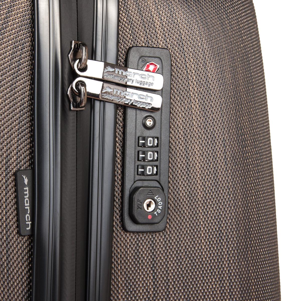 March New Carat SE L Bronze brushed.    odľahčený pojazdný systém štyroch dvoukoleček otočných v 360 °    hliníková výsuvná rukoväť s aretačným tlačidlom    vodeodolné zipsy    TSA zámok umožňujúce bezpečné uzamknutie kufra    dvojstranne riešený interiér s vreckom na zips    diamantová povrchová úprava znižujúci riziko oderu a poškriabaniu    päťročná záruka