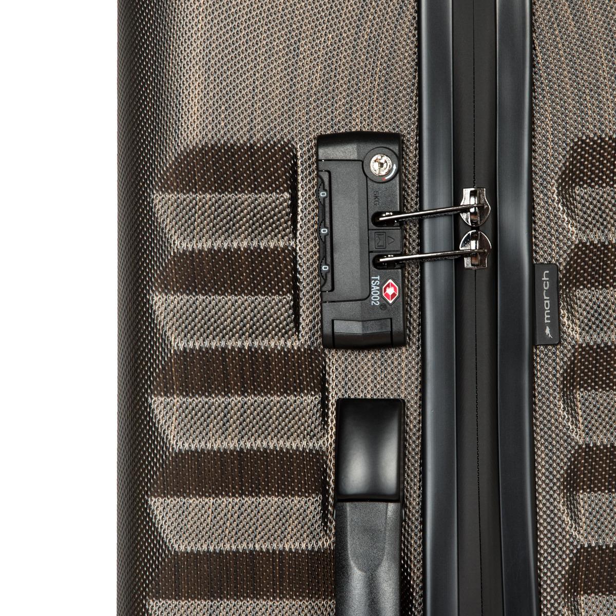 March Ribbon SE L Bronze brushed Elegantní kufr ze speciální edice March Ribbon vám nikde neudělá ostudu.  odlehčený pojízdný systém čtyř dvoukoleček otočných v 360° hliníková výsuvná rukojeť s aretačním tlačítkem voděodolné zipy TSA zámek umožňující bezpečné uzamknutí kufru dvoustranně řešený interiér s kapsou na zip diamantová povrchová úprava snižující riziko oděru a poškrábání pětiletá záruka
