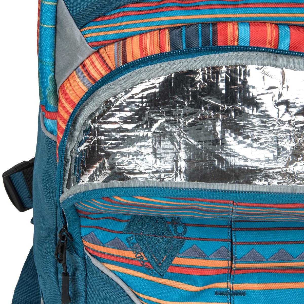 Nitro Superhero Canyon Superhrdinovia nerobia kompromisy!  - priedušná a ergonomicky tvarovaná chrbtová časť - dve hlavné vrecká - vnútri praktický organizér - bočné vrecko na fľašu - špeciálne upravené predné vrecko, v ktorej si olovrant dlhšie udrží optimálnu teplotu - pevné a stabilné dno - odnímateľný bedrový pás - nastaviteľný hrudný pás - reflexné prvky