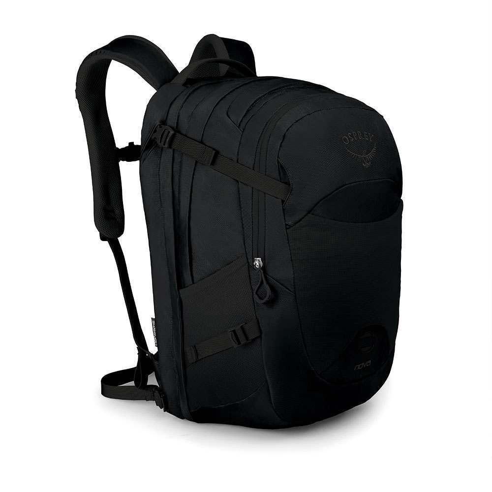 Osprey Nova Black.  chrbtový systém AirScape vnútorné vrecko s organizérom vnútorný klip na kľúče možnosť pripevnenia LED svetla čalúnené vrecko na notebook či tablet s bočným prístupom odnímateľný bedrový pás hrudný pás s núdzovou píšťaľkou pružné vrecko vnútri batoha pre uloženie drobností pružné vrecká na bokoch na uloženie fľašiek vrecko na zips pre uloženie slnečných okuliarov či drobnej elektroniky čalúnené ramenné popruhy popruhy vnútri batoha pre kompresiu nákladu