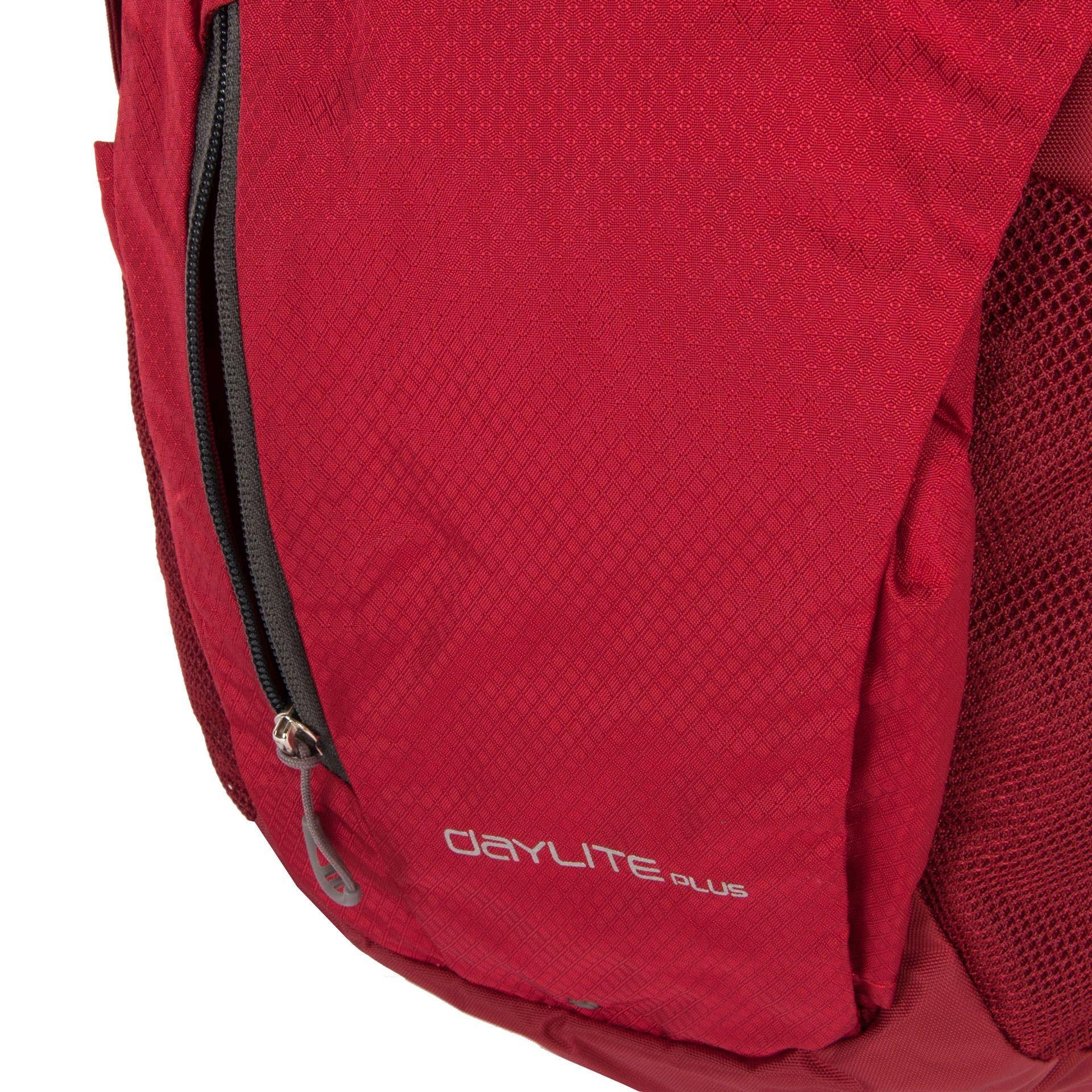 Osprey Daylite Plus Real red Ak chcete cestovať naľahko len s pár vecami na chrbte, batoh Daylite je pre vás tou pravou batožinou. - vystužený chrbtový panel s perforovaním pre lepší prístup vzduchu- pútko pre vonkajšie uchytenie hydrovaku za chrbtový panel- čalúnené vrecko na laptop 15,4