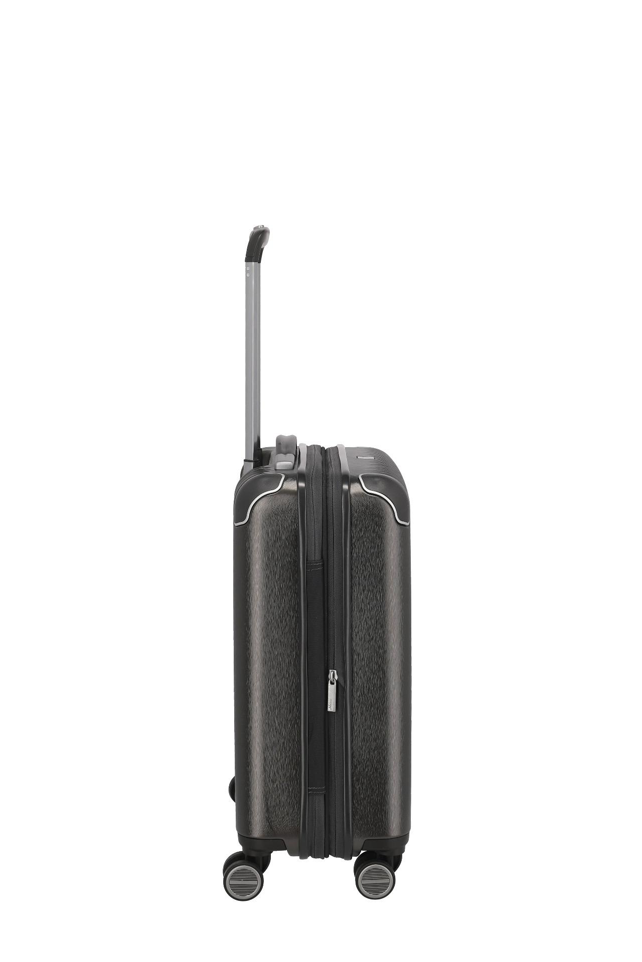 Titan Barbara Glint S Anthracite metallic.  štyri tiché dvojkolieska otočné o 360° výsuvná rukoväť z ľahkého kovu s aretačným tlačítkom na madle vnorený TSA zámok rohy chránené robustnými krytkami pevné horné a bočné madlo obojstranný systém balenia textilná deliaca priečka s dvomi vreckami na zips pevné fixačné popruhy s prackou v tvare ozdobnej stuhy jemná a kvalitná vnútorná podšívka nárazuvzdorný materiál farebne zladené zipsy a štýlové logo integrovaný expandér pre navýšenie kapacity