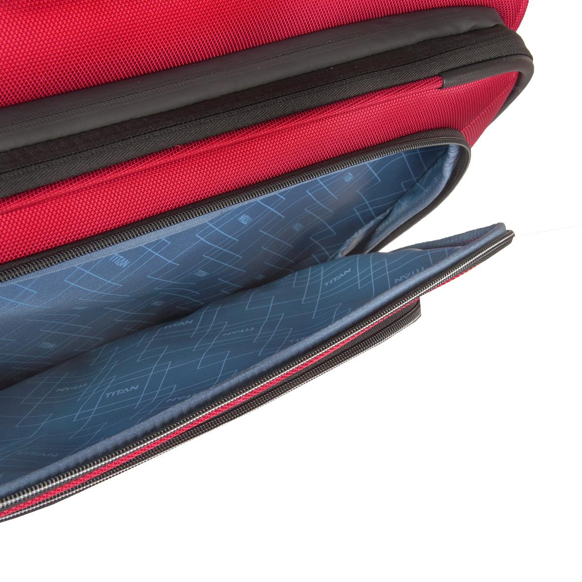 Titan Nonstop 4w L Red Odľahčený kufor Titan Nonstop z veľmi odolnej tkaniny je všestranným spoločníkom na výlety i vysnívané dovolenky.  - štyri tiché dvojkolieska otočné o 360 ° - hliníková rukoväť s aretáciou a ergonomickou rukoväťou - nepremokavý zips pri hlavnej komory - integrovaný TSA zámok pre cesty nielen do USA - expandér pre jednoduché rozšírenie objemu rozopnutím obvodového zipsu - dve veľké predné vrecká na zips - vnútorná priehradka na košele s fixačnými popruhmi - integrovaná menovka - ľahko nastaviteľné bezpečnostné popruhy - vystužené hrany pre vyššiu odolnosť batožinu - predĺžená záruka 3 roky